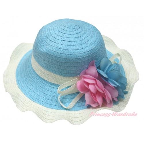 Light Blue Cream White Summer Beach Straw Hat With Light Pink & Light Blue Flower H853