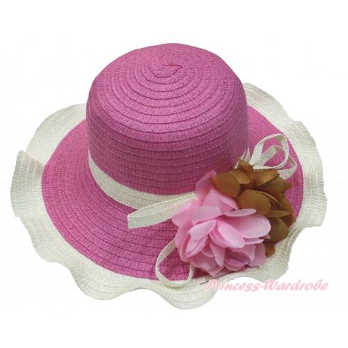 Hot Pink Cream White Summer Beach Straw Hat With Light Pink & Brown Flower H854