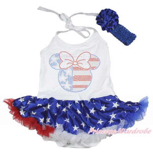 4th July White Baby Halter Jumpsuit Patriotic American Star Pettiskirt With Sparkle Crystal Bling Rhinestone 4th July Minnie Print With Royal Blue Headband Patriotic American Star Rose JS3364