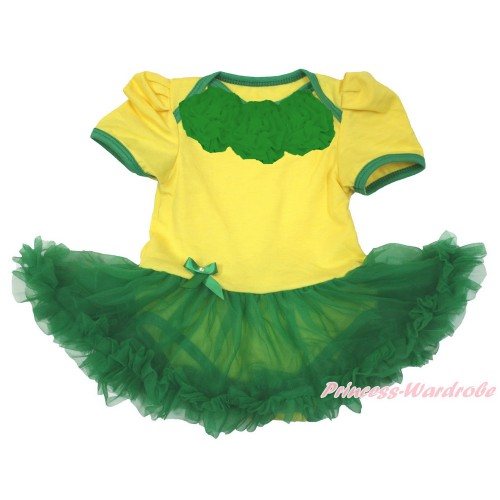 World Cup Brazil Yellow Baby Bodysuit Jumpsuit Kelly Green Pettiskirt with Kelly Green Rosettes JS3373