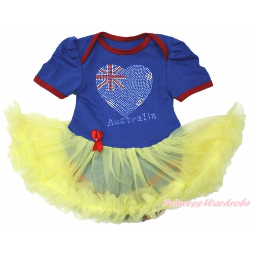 World Cup Royal Blue Red Ruffles Baby Bodysuit Jumpsuit Yellow Pettiskirt with Sparkle Crystal Bling Rhinestone Australia Heart Print JS3385