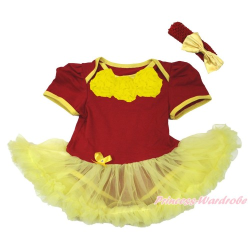 World Cup Spain Red Baby Jumpsuit Yellow Pettiskirt With Yellow Rosettes With Red Headband Yellow Satin Bow JS3402