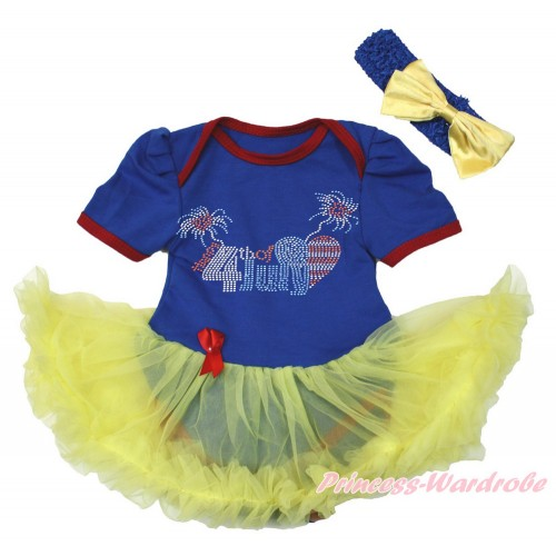 4th July Royal Blue Red Ruffles Baby Bodysuit Jumpsuit Yellow Pettiskirt With Sparkle Crystal Bling Rhinestone 4th July Patriotic American Heart Print With Royal Blue Headband Yellow Satin Bow JS3411