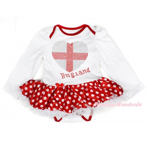 World Cup White Long Sleeve Baby Bodysuit Jumpsuit Minnie Dots White Pettiskirt With Sparkle Crystal Bling Rhinestone England Heart Print JS3424