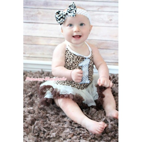 Leopard Baby Halter Jumpsuit Cream White Brown Pettiskirt With 1st Sparkle White Birthday Number Print With White Headband Leopard Satin Bow JS3427
