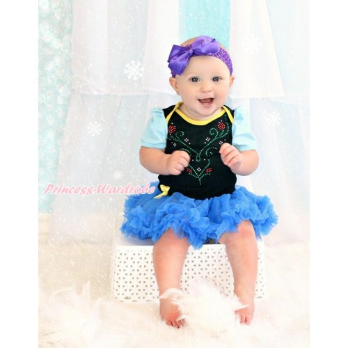 Light Blue Sleeve Black Baby Bodysuit Jumpsuit Royal Blue Pettiskirt With Sparkle Crystal Bling Rhinestone Princess Anna Print With Dark Purple Headband Dark Purple Silk Bow JS3504