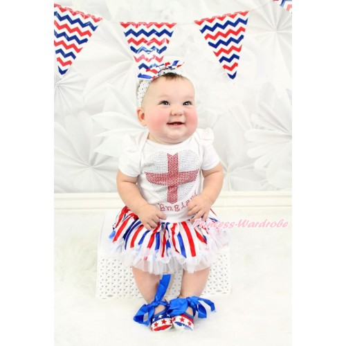 White Baby Bodysuit Jumpsuit Red White Royal Blue Striped Pettiskirt With Sparkle Crystal Bling Rhinestone England Heart Print With White Headband Red White Royal Blue Striped Satin Bow With Royal Blue Ribbon Red White Blue Striped Stars Shoes JS3509