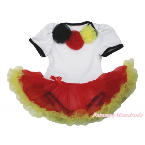 World Cup Germany White Baby Bodysuit Jumpsuit Red Yellow Pettiskirt with Black Red Yellow Rosettes JS3515