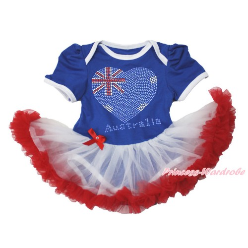 World Cup Royal Blue Baby Bodysuit Jumpsuit White Red Pettiskirt with Sparkle Crystal Bling Rhinestone Australia Heart Print JS3518