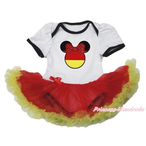 World Cup Germany White Baby Bodysuit Jumpsuit Red Yellow Pettiskirt with Sparkle Red Bow Germany Minnie Print JS3524