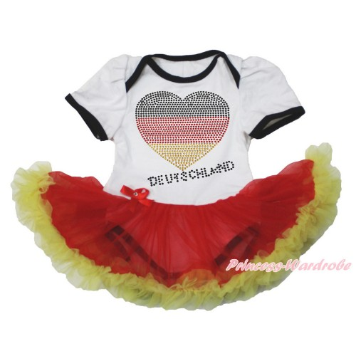 World Cup Germany White Baby Bodysuit Jumpsuit Red Yellow Pettiskirt with Sparkle Crystal Bling Rhinestone Germany Heart Print JS3525