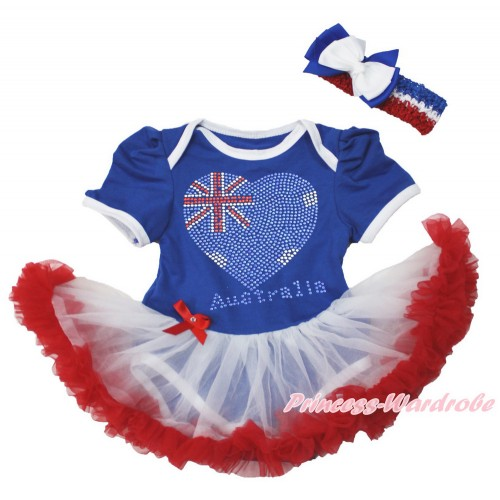 World Cup Royal Blue Baby Bodysuit Jumpsuit White Red Pettiskirt With Sparkle Crystal Bling Rhinestone Australia Heart Print With Red White Royal Blue Headband White Royal Blue Ribbon Bow JS3547