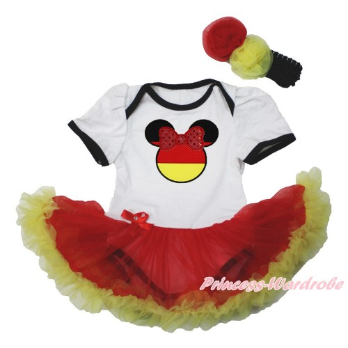 World Cup Germany White Baby Bodysuit Jumpsuit Red Yellow Pettiskirt With Sparkle Red Germany Minnie Print With Black Headband Red Yellow Rose JS3553