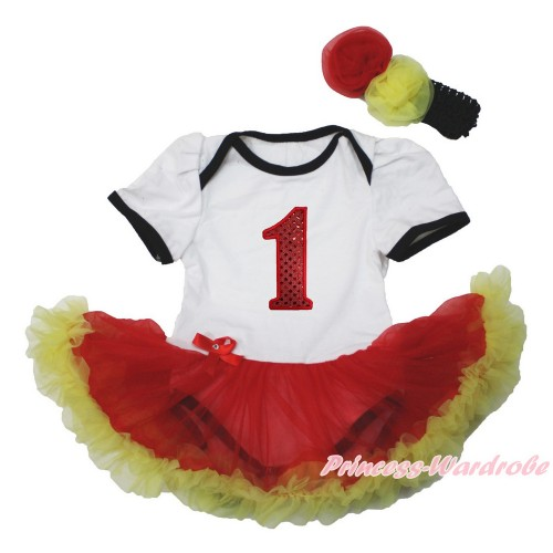 White Baby Bodysuit Jumpsuit Red Yellow Pettiskirt with 1st Sparkle Red Birthday Number Print Black Headband Red Yellow Rose JS3557