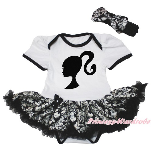 White Baby Bodysuit Jumpsuit Damask Pettiskirt With Barbie Princess Print With Black Headband Damask Satin Bow JS3562