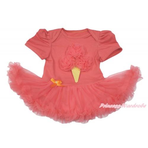 Coral Tangerine Baby Bodysuit Jumpsuit Coral Tangerine Pettiskirt with Coral Tangerine Rosettes Ice Cream Print JS3602