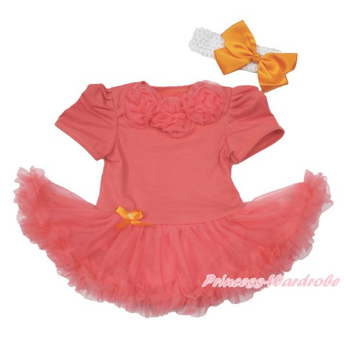Coral Tangerine Baby Jumpsuit Coral Tangerine Pettiskirt With Coral Tangerine Rosettes With White Headband Orange Silk Bow JS3620
