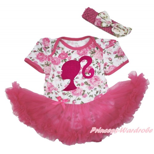 Rose Fusion Baby Bodysuit Jumpsuit Hot Pink Pettiskirt With Hot Pink Barbie Princess Print With Hot Pink Headband Light Pink Rose Fusion Satin Bow JS3633