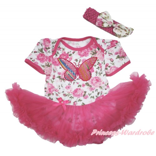 Rose Fusion Baby Bodysuit Jumpsuit Hot Pink Pettiskirt With Rainbow Butterfly Print With Hot Pink Headband Light Pink Rose Fusion Satin Bow JS3634