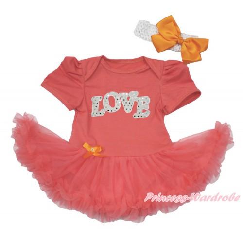 Coral Tangerine Baby Bodysuit Jumpsuit Coral Tangerine Pettiskirt With Sparkle White Love Print With White Headband Orange Silk Bow JS3641
