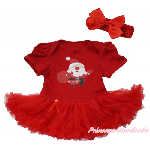 Xmas Red Baby Bodysuit Jumpsuit Red Pettiskirt With Gift Bag Santa Claus Print With Red Headband Red Silk Bow JS3650