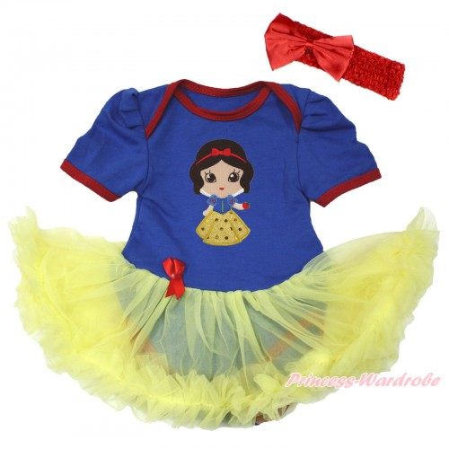 Royal Blue Red Ruffles Baby Bodysuit Jumpsuit Yellow Pettiskirt With Snow White Print With Red Headband Red Satin Bow JS3679