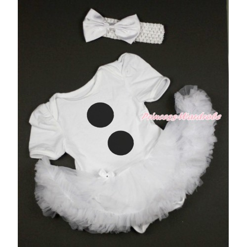 White Baby Bodysuit Jumpsuit White Pettiskirt With Olaf Button Print With White Headband White Silk Bow JS3681