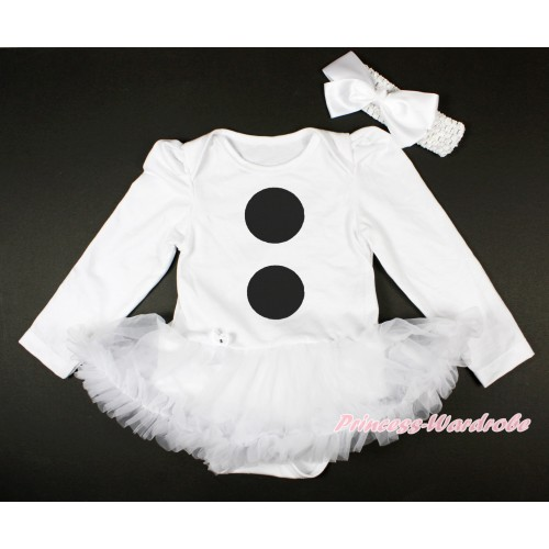 White Long Sleeve Baby Bodysuit Jumpsuit White Pettiskirt With Olaf Button Print & White Headband White Silk Bow JS3683