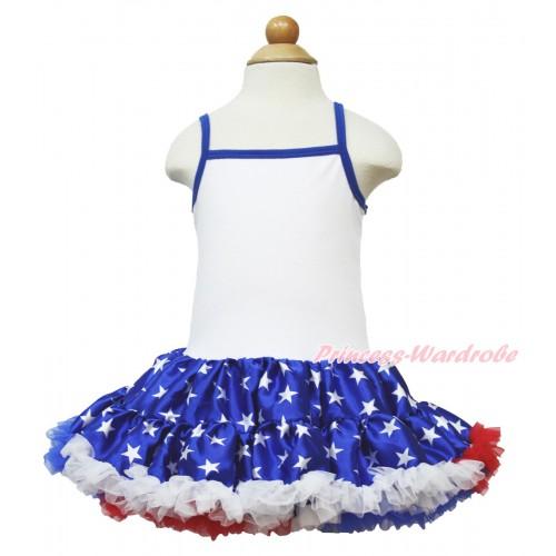 American's Birthday White Halter Patriotic American Star ONE-PIECE Dress LP50