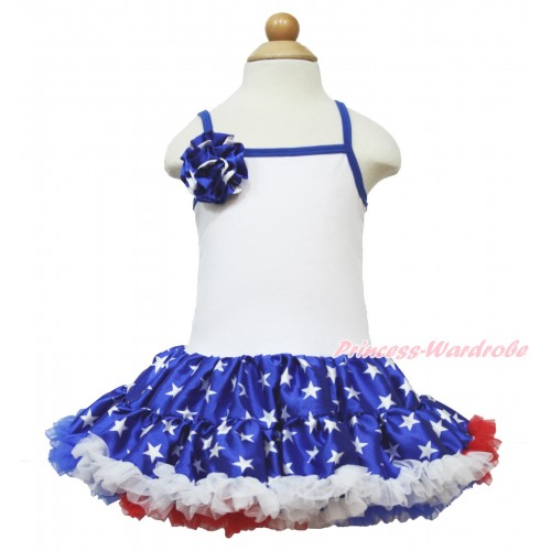 American's Birthday White Halter Patriotic American Star ONE-PIECE Dress & One Patriotic American Star Rose LP51