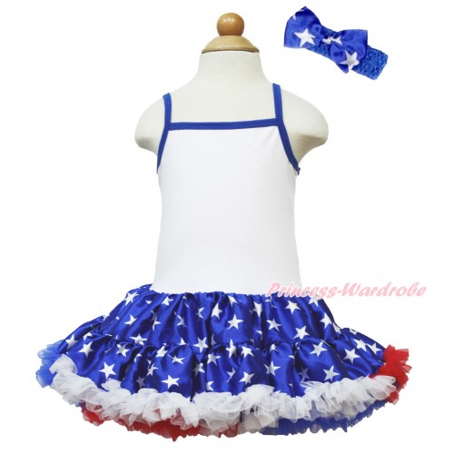 American's Birthday White Halter Patriotic American Star ONE-PIECE Dress With Royal Blue Headband Patriotic American Star Satin Bow LP53