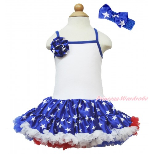 American's Birthday White Halter Patriotic American Star ONE-PIECE Dress & One Patriotic American Star Rose With Royal Blue Headband Patriotic American Star Satin Bow LP54