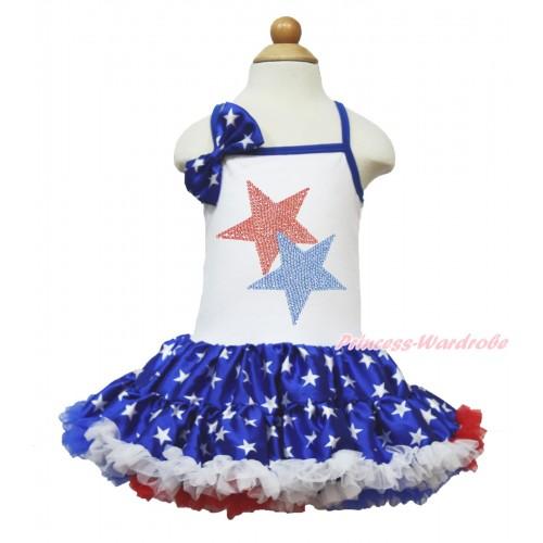 American's Birthday White Halter Patriotic American Star ONE-PIECE Dress & Patriotic American Star Satin Bow & Sparkle Crystal Bling Rhinestone Red Blue Twin Star Print LP57
