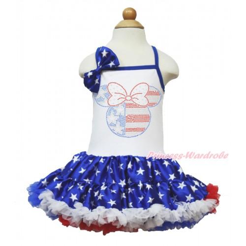 American's Birthday White Halter Patriotic American Star ONE-PIECE Dress & Patriotic American Star Satin Bow & Sparkle Crystal Bling Rhinestone 4th July Minnie Print LP58