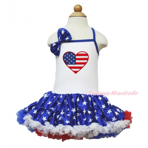 American's Birthday White Halter Patriotic American Star ONE-PIECE Dress & Patriotic American Star Satin Bow & Patriotic American Heart Print LP61