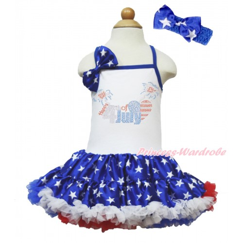American's Birthday White Halter Patriotic American Star ONE-PIECE Dress & Patriotic American Star Satin Bow & Sparkle Crystal Bling Rhinestone 4th July Patriotic American Heart Print With Royal Blue Headband Patriotic American Star Satin Bow LP66