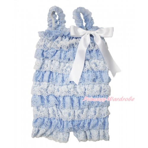 Frozen Elsa Light Blue White Lace Ruffles Petti Rompers with Straps with White Bow LR185