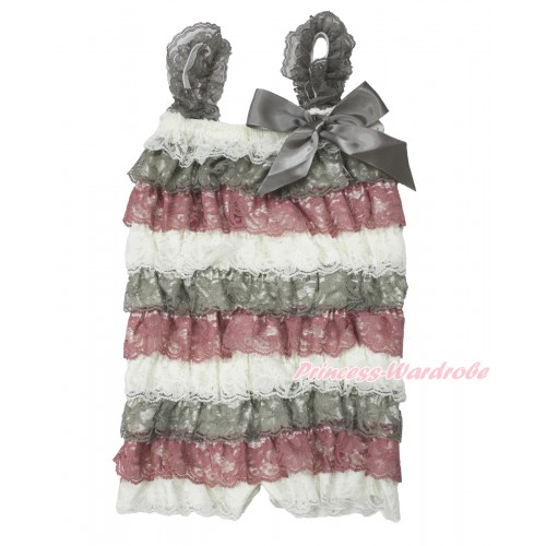 Cream White Grey Raspberry Wine Red Lace Ruffles Petti Rompers with Straps with Grey Bow LR186