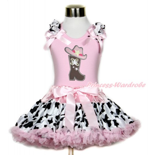 Light Pink Tank Top with Milk Cow Ruffles & Light Pink Bow with Cowgirl Hat Boot Print & Light Pink Milk Cow Pettiskirt M589