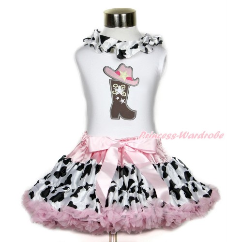 White Tank Top With Milk Cow Satin Lacing & Cowgirl Hat Boot Print With Light Pink Milk Cow Pettiskirt MG1197