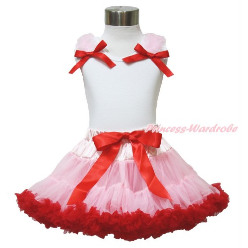 White Tank Top With Light Pink Ruffles & Red Bows With Light Pink Red Pettiskirt MG1232