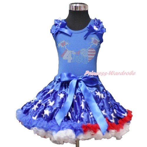 4th July Royal Blue Tank Top with Patriotic American Star Ruffles & Royal Blue Bow with Sparkle Crystal Bling Rhinestone 4th July Patriotic American Heart Print & Patriotic American Star Pettiskirt MN87