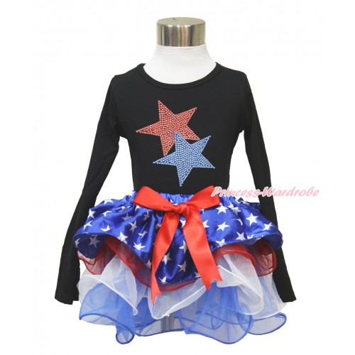 American's Birthday Black Long Sleeve Top with Sparkle Crystal Bling Rhinestone Red Blue Twin Star Print with Red Bow Patriotic American Star Red White Blue Petal Pettiskirt MW473