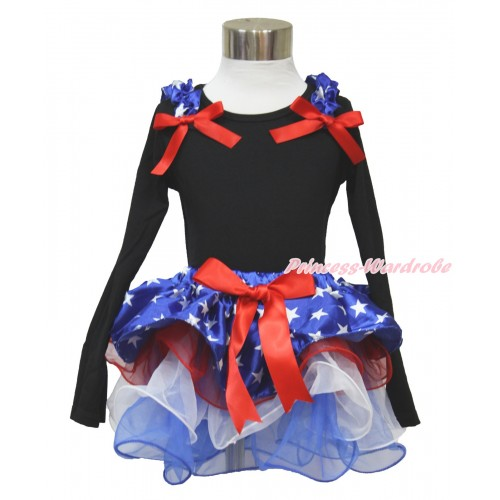 American's Birthday Black Long Sleeve Top with Patriotic American Star Ruffles & Red Bow with Red Bow Patriotic American Star Red White Blue Petal Pettiskirt MW474