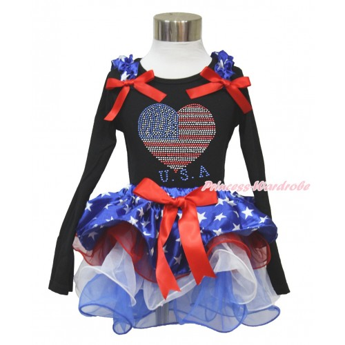 American's Birthday Black Long Sleeve Top with Patriotic American Star Ruffles & Red Bow & Sparkle Crystal Bling Rhinestone USA Heart Print with Matching Red Bow Patriotic American Star Red White Blue Petal Pettiskirt MW475