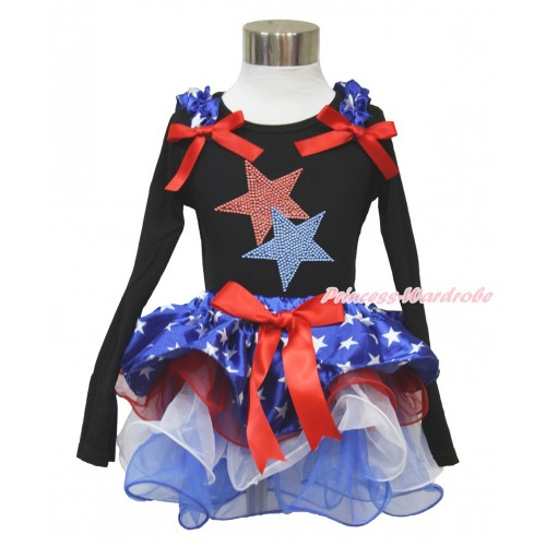American's Birthday Black Long Sleeve Top with Patriotic American Star Ruffles & Red Bow & Sparkle Crystal Bling Rhineston Red Blue Twin Star Print with Matching Red Bow Patriotic American Star Red White Blue Petal Pettiskirt MW479