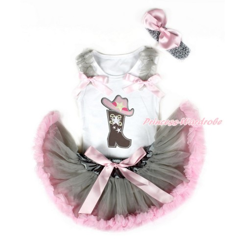 White Baby Pettitop with Grey Ruffles & Light Pink Bows with Cowgirl Hat Boot Print & Grey Light Pink Newborn Pettiskirt With Grey Headband Light Pink Silk Bow NG1469