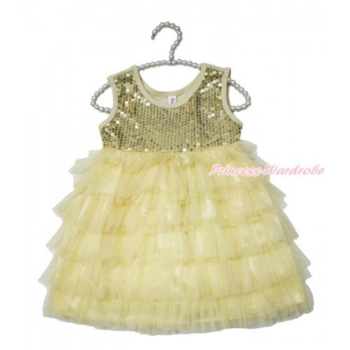 Cream White Sparkle Sequins Layer Dance Party Dress PD049