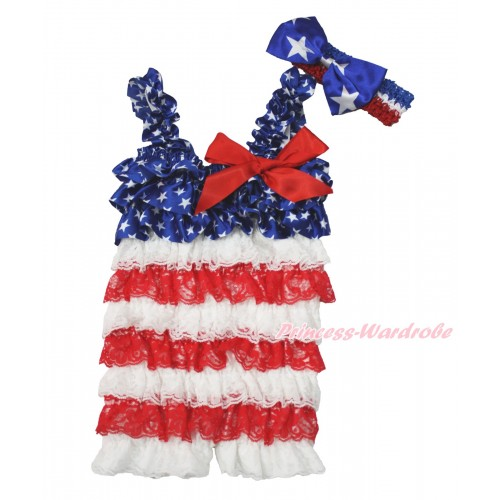 American's Birthday Patriotic American Star White Red Satin Petti Romper with Red Bow & Straps With Red White Royal Blue Headband Patriotic American Star Satin Bow 2pc Set RH145