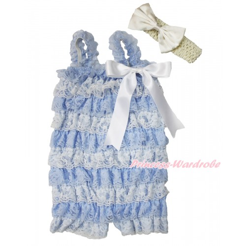 Frozen Elsa Light Blue White Lace Ruffles Romper with White Bow & Straps with Cream White Headband Cream White Satin Bow Set RH146